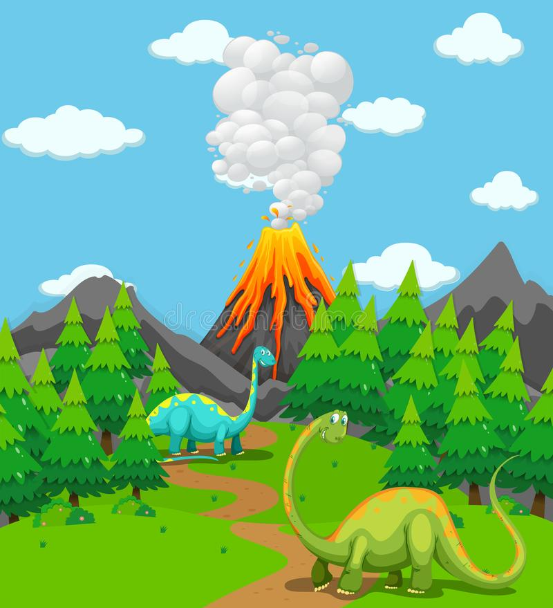 Twee dinosaurussen en vulkaanuitbarsting vector illustratie