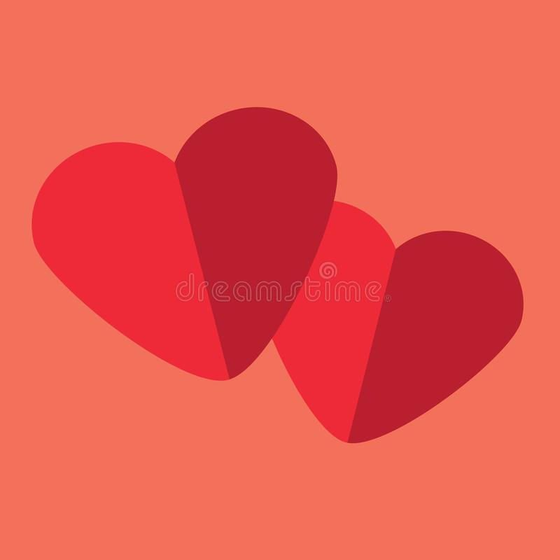 Twee document harten op koraalachtergrond Achtergrond, pictogram voor Valentijnskaartendag, romantisch ontwerp vector illustratie