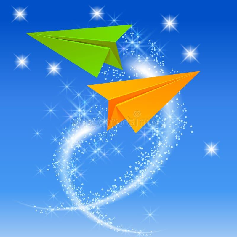 Download Twee document vliegtuig vector illustratie. Illustratie bestaande uit origami - 54085407