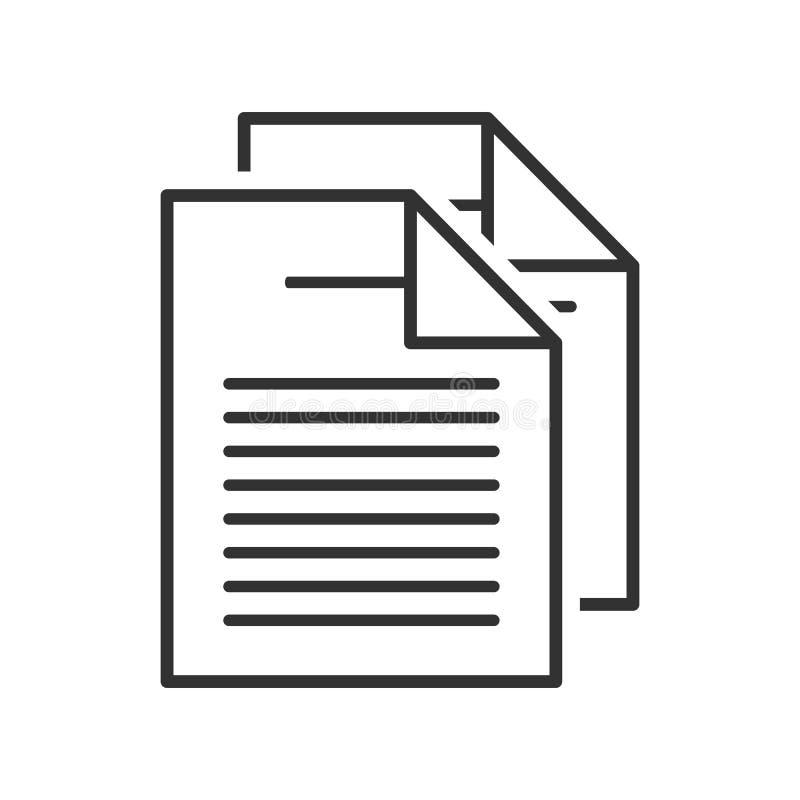Twee Documenten schetsen Vlak Pictogram op Wit royalty-vrije illustratie