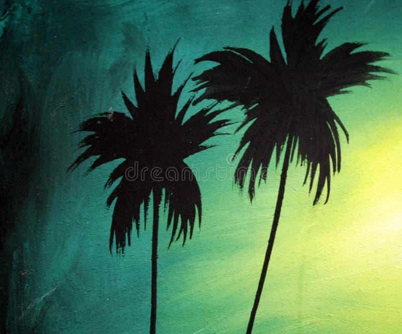 Twee donkere silhouetten van palmen bij zonsondergang, het concept kokosnotenpalmen Geschilderd in uitstekende stijl royalty-vrije stock afbeelding