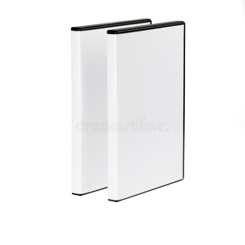 Twee dozen DVD die op wit worden gescheiden royalty-vrije stock afbeeldingen