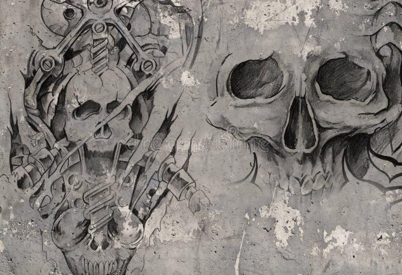 Twee Draken, tatoegeringsillustratie over grijze muur royalty-vrije illustratie