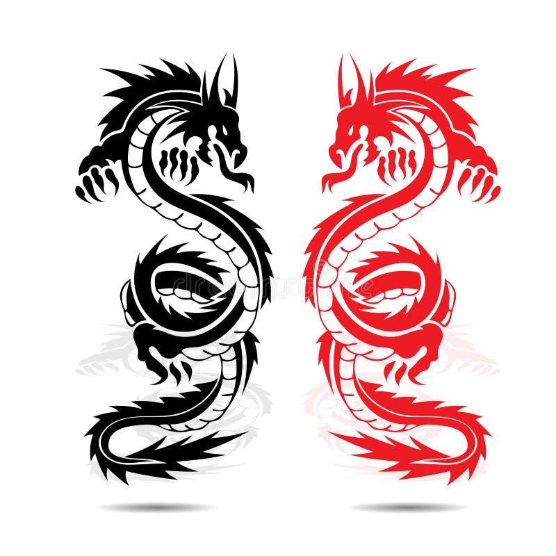 Twee drakenrood en zwarte, in strijd, silhouet op witte backgro stock illustratie