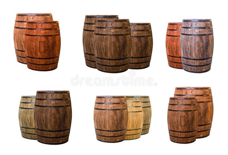 Twee drie vaten eiken wijnbereiding die drinkt donker bruin en licht beige, duidelijk met een schaduw verouderen stock afbeelding