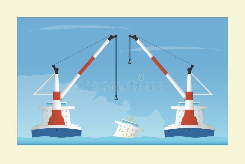Twee drijvende kranen en gedaald schip Bergingsverrichting stock illustratie