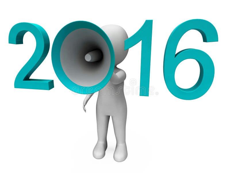 Twee Duizend Zestien Luide Hailer tonen Jaar 2016 vector illustratie