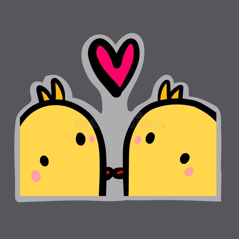 Twee eenden in liefde overhandigen getrokken leuke minimalism van het illustratiebeeldverhaal stock illustratie