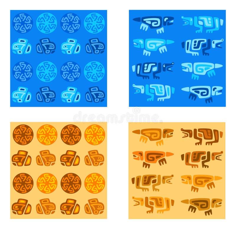 Twee eenvoudige naadloze stammenpatronen in twee kleuren waaiers royalty-vrije illustratie
