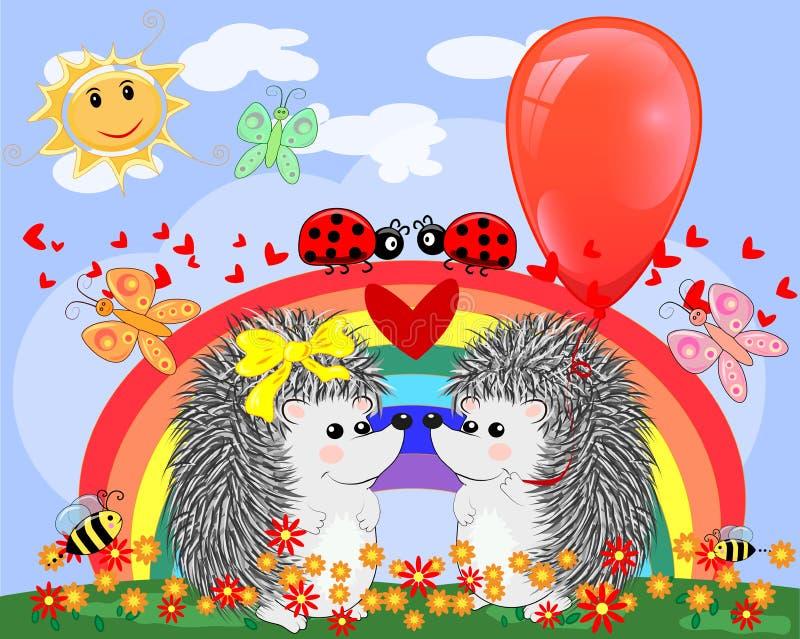 Twee egels van het minnaars leuke beeldverhaal, een jongen en een meisje dichtbij een zeven-gekleurde regenboog op de lente, de z stock illustratie