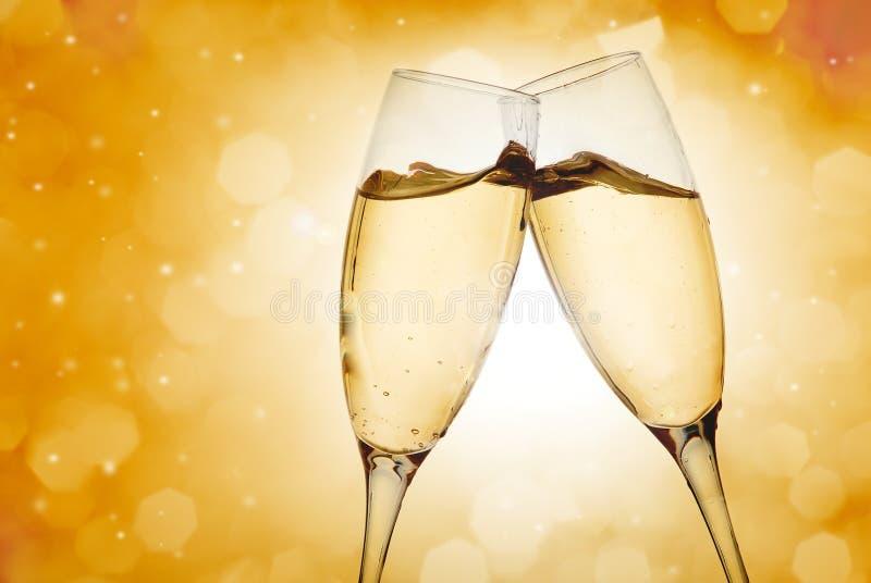 Twee elegante champagneglazen royalty-vrije stock foto's