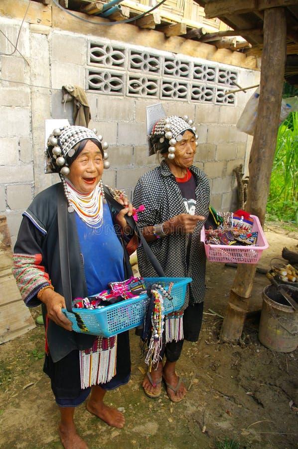 Twee etnische vrouwen van Akha royalty-vrije stock afbeelding