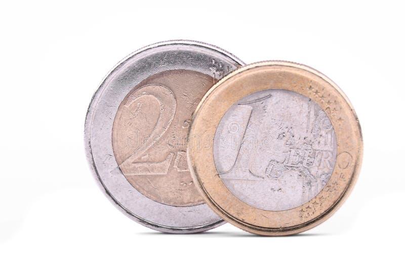 Twee euro muntstukken extreme macro royalty-vrije stock foto's