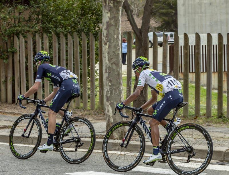 Twee Fietsers - Volta Ciclista een Catalunya 2016 royalty-vrije stock afbeelding