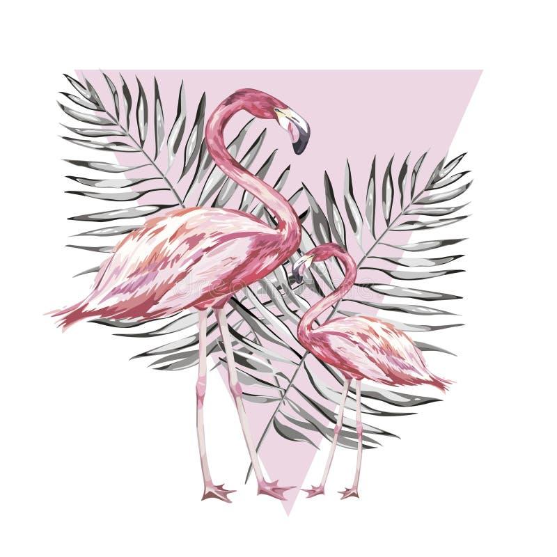 Twee flamingo's met tropische bladeren Element voor ontwerp van uitnodigingen, filmaffiches, stoffen en andere voorwerpen Geïsole stock illustratie
