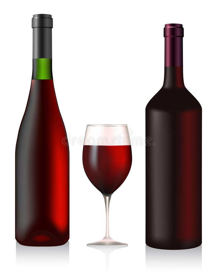 Twee flessen en glas met rode wijn stock illustratie