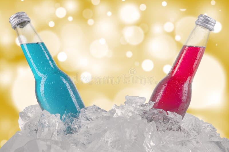Twee flessen lagerbier in het ijsblokje royalty-vrije stock foto's