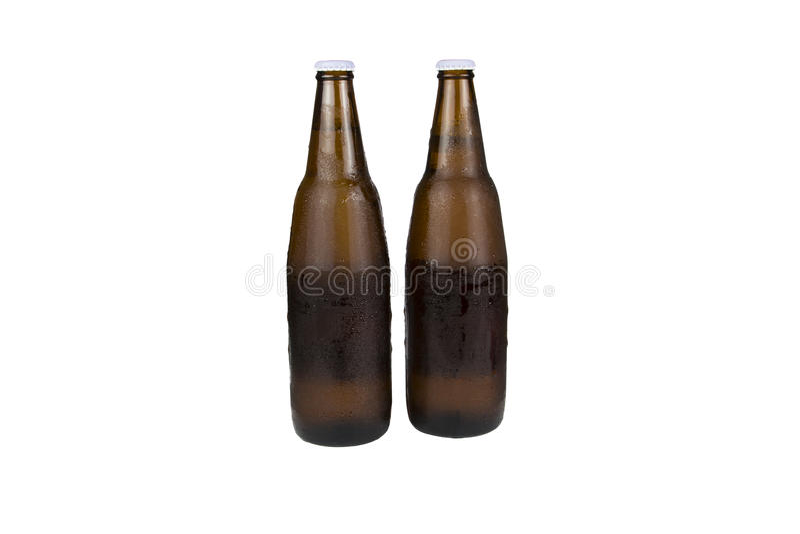 Twee flessenbier stock afbeelding