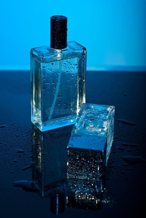 Twee flessenparfum met waterdalingen stock foto