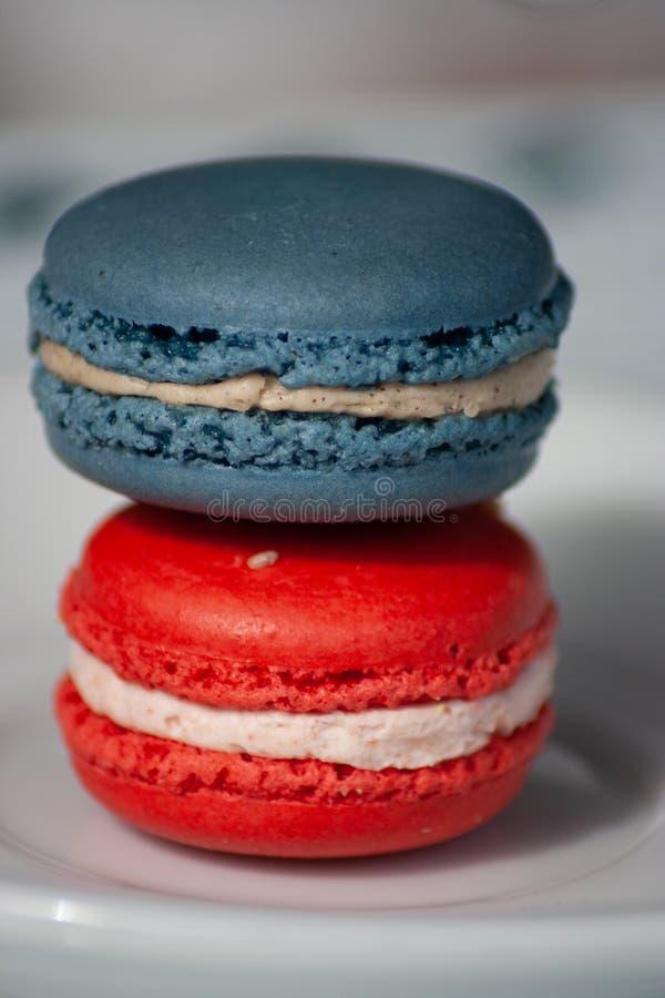 Twee Franse Macaron-Koekjes op Witte Plaat royalty-vrije stock fotografie