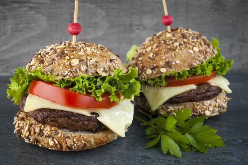 Twee gastronomische hamburgers royalty-vrije stock foto