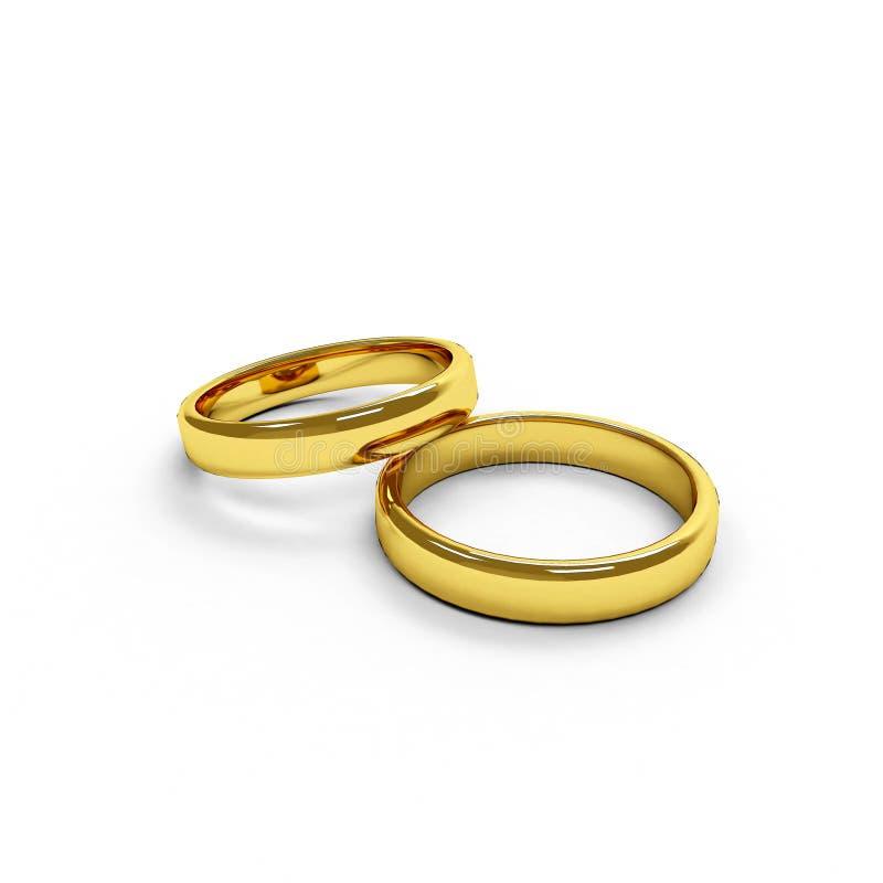 Twee geïsoleerdea gouden ringen royalty-vrije stock afbeelding