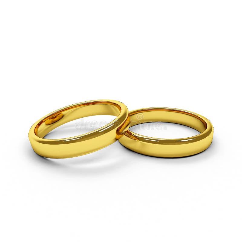 Twee geïsoleerdeo gouden ringen stock fotografie