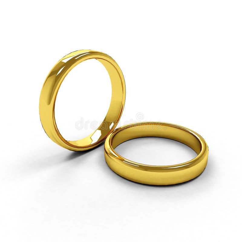 Twee geïsoleerder gouden ringen royalty-vrije stock foto