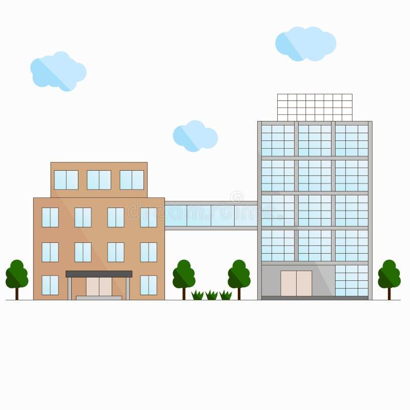 Twee gebouwen De verbindingsbrug Het vlakke ontwerp vector illustratie