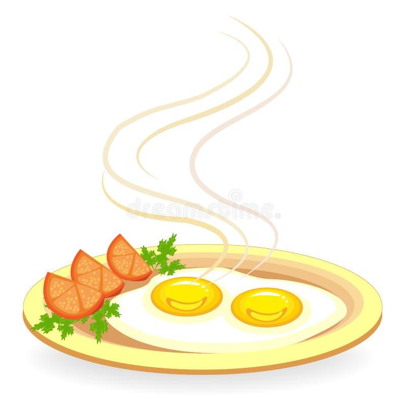 Twee gebraden eieren op een plaat Naast de omelet zijn stukken van tomaat en peterselie Snel en voedzaam voedsel Vector illustrat stock illustratie