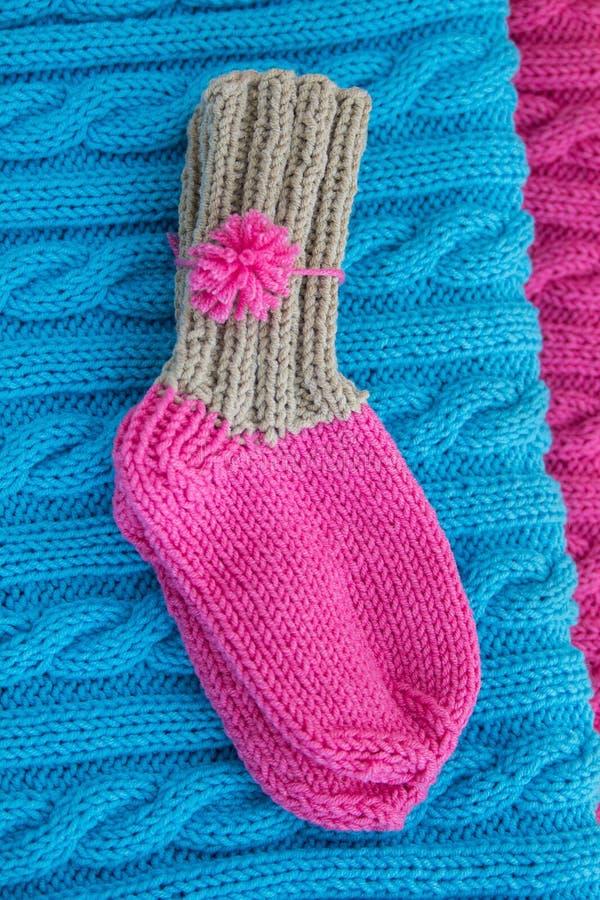 Twee gebreide sokken royalty-vrije stock fotografie