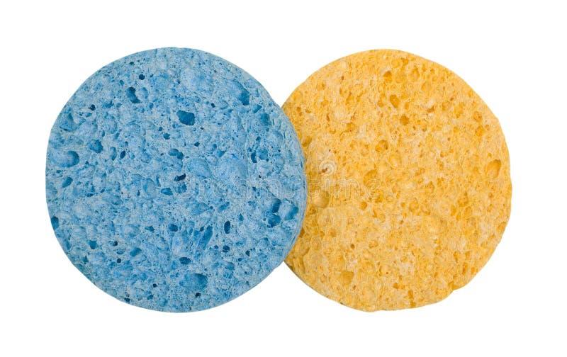 Twee gekleurde kosmetische sponsen stock foto's
