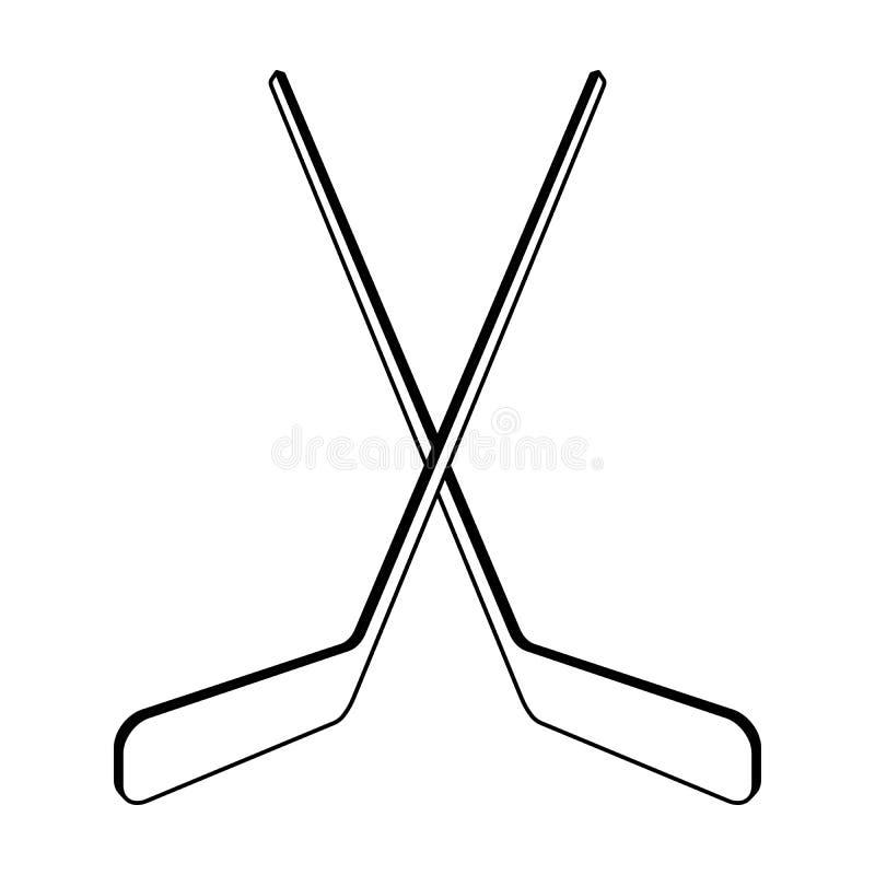 Twee gekruiste hockeystokken vector illustratie