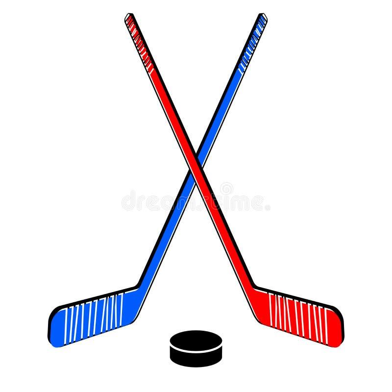 Twee gekruiste hockeystokken royalty-vrije illustratie