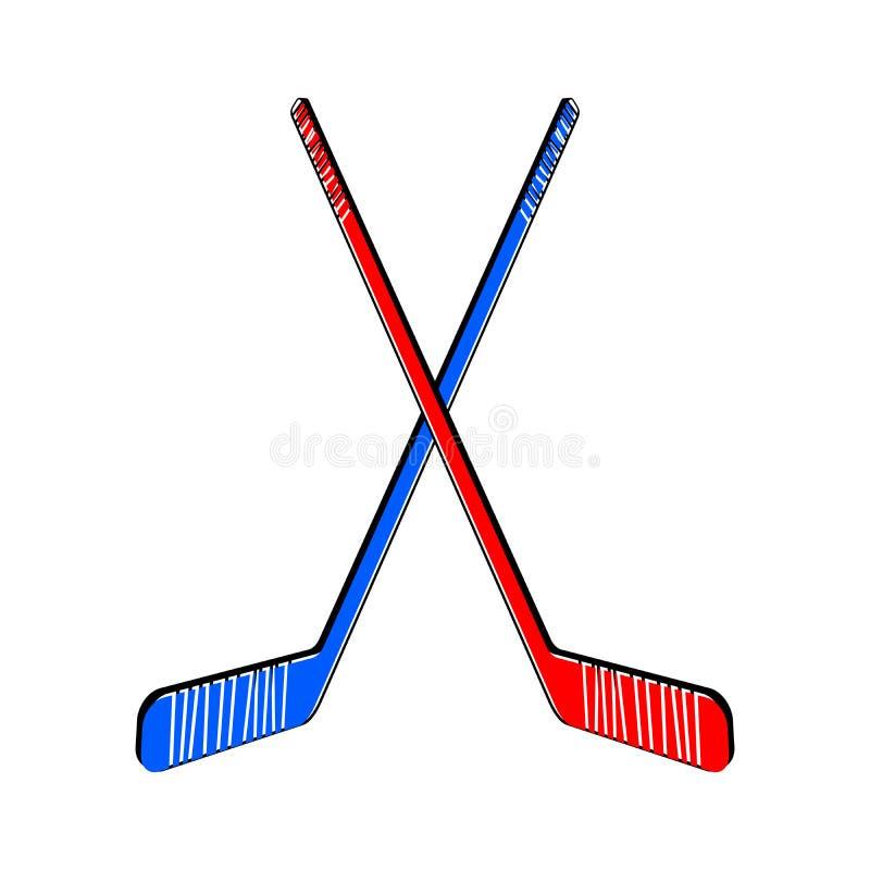 Twee gekruiste hockeystokken stock illustratie