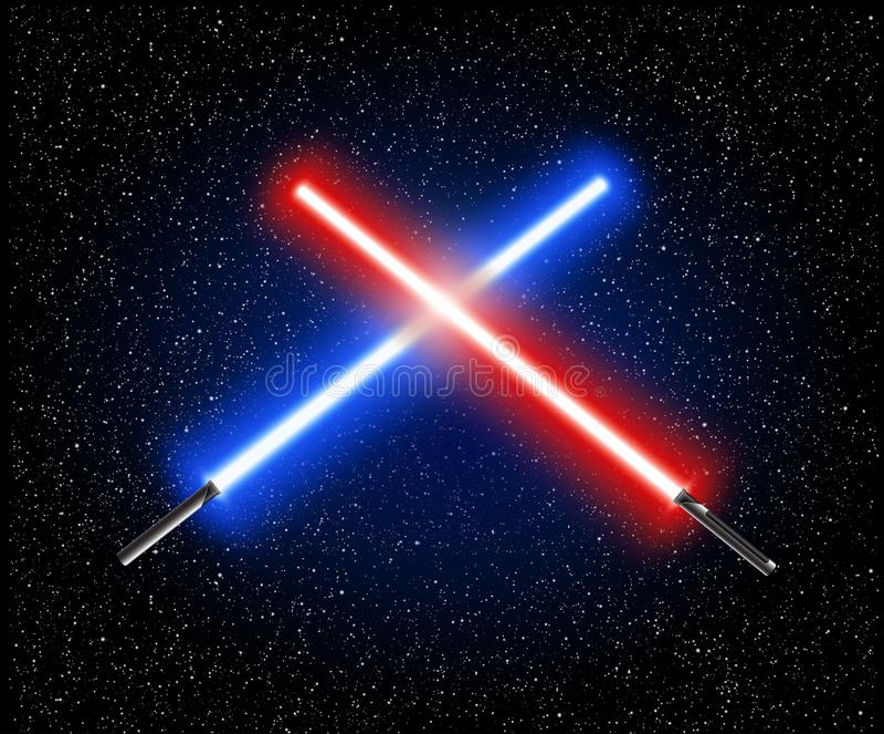 Twee gekruiste lichte zwaarden - blauwe en rode kruisingslaser lightsabe stock illustratie