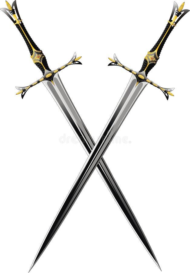 Twee gekruiste zwaarden stock illustratie