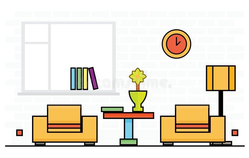 Twee Gele Stoelen met Lampekap en Lijst royalty-vrije illustratie