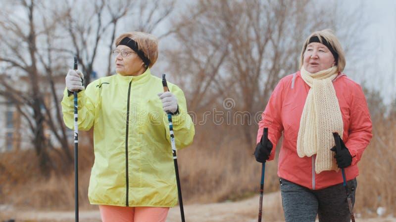 Twee gelukkige bejaarden in de herfstpark hebben moderne gezonde opleiding - het noordse lopen stock foto's