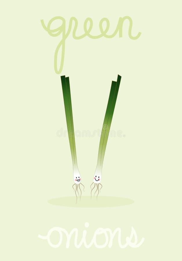Twee gelukkige groene uien & tekst-rooster stock afbeeldingen