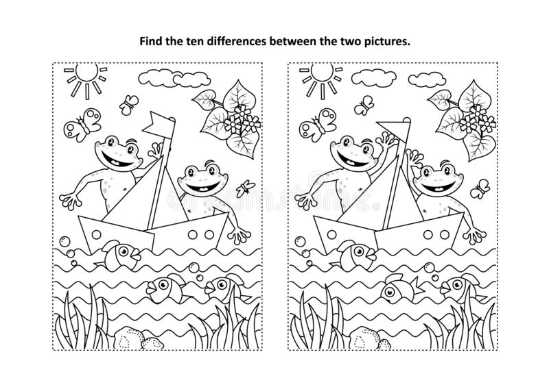 Twee gelukkige kikkers in een raadsel van het bootbeeld en een kleurende pagina stock illustratie