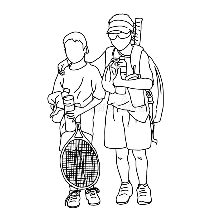 Twee gelukkige kinderen die met tennisracketten de vectorkrabbel van de illustratieschets stellen overhandigen getrokken met zwar stock illustratie