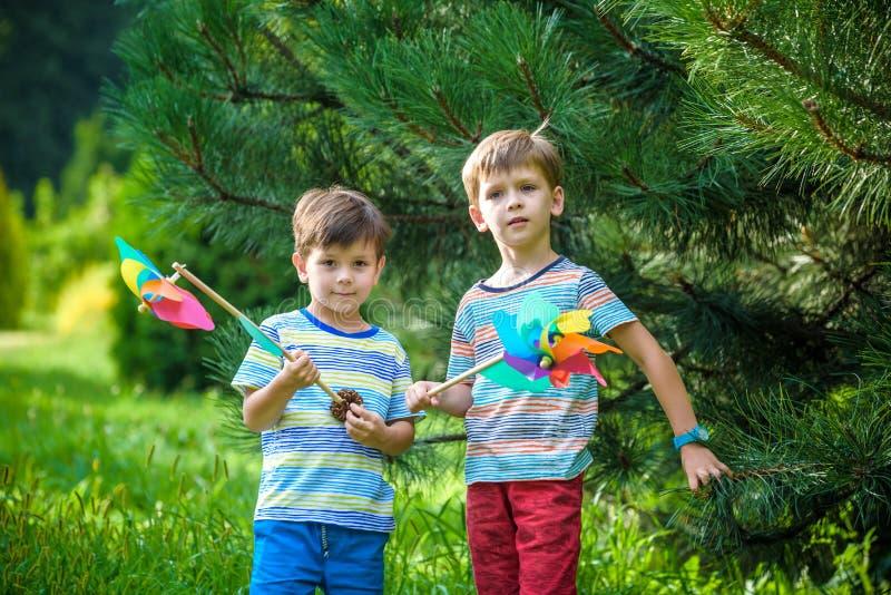 Twee gelukkige kinderen die in tuin met windmolenvuurrad spelen De aanbiddelijke sibling broers zijn beste vrienden De leuke de g stock afbeelding
