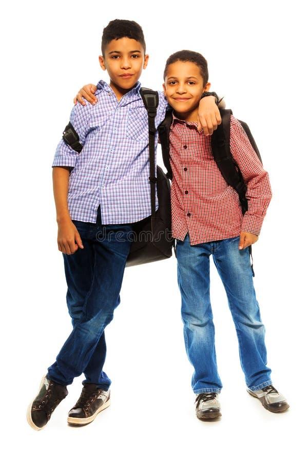 Gelukkige twee broers stock foto