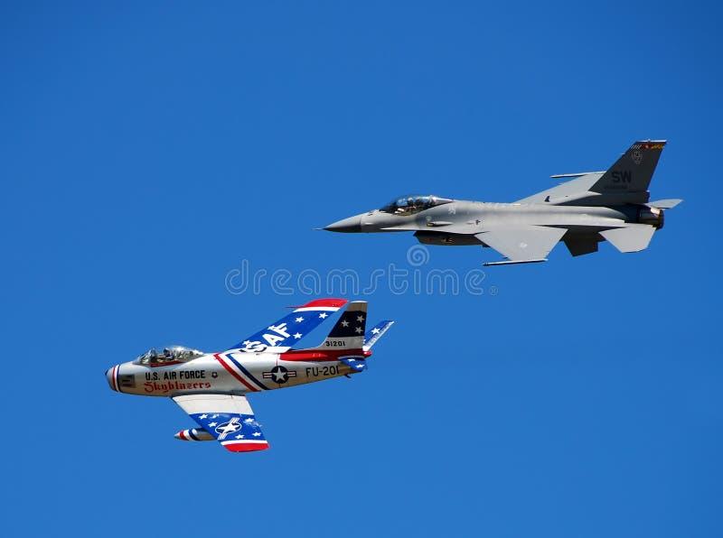 Twee generaties van de V.S. jetfighter stock afbeelding