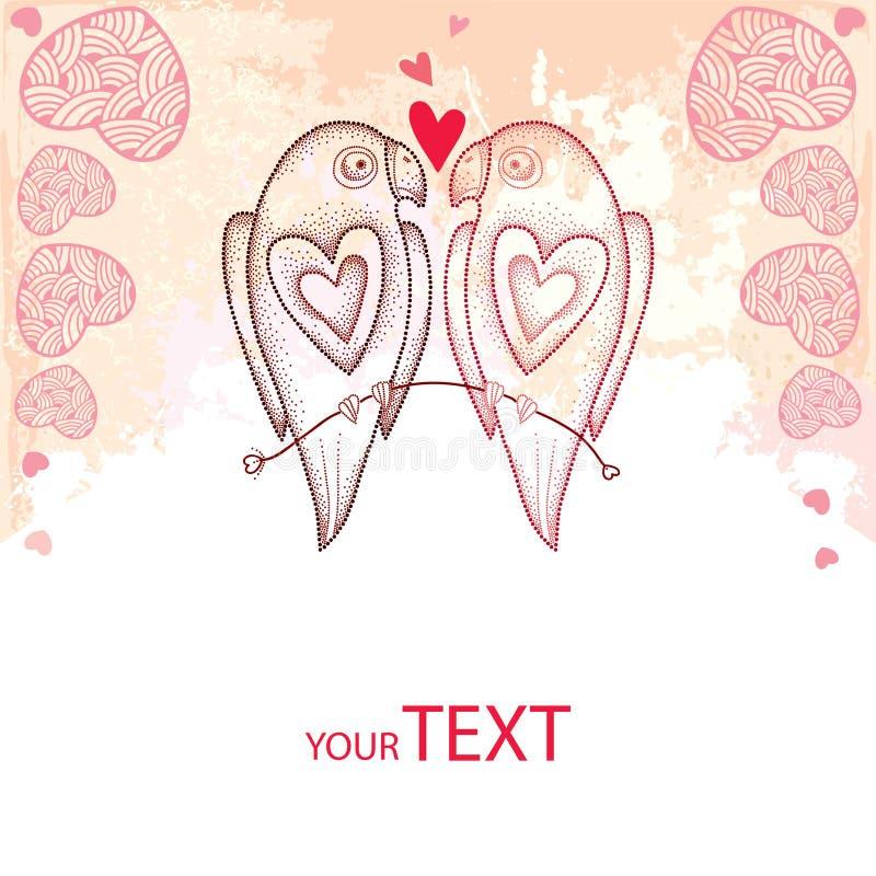 Twee gestippelde papegaaien in liefde op de geweven achtergrond met roze harten royalty-vrije illustratie