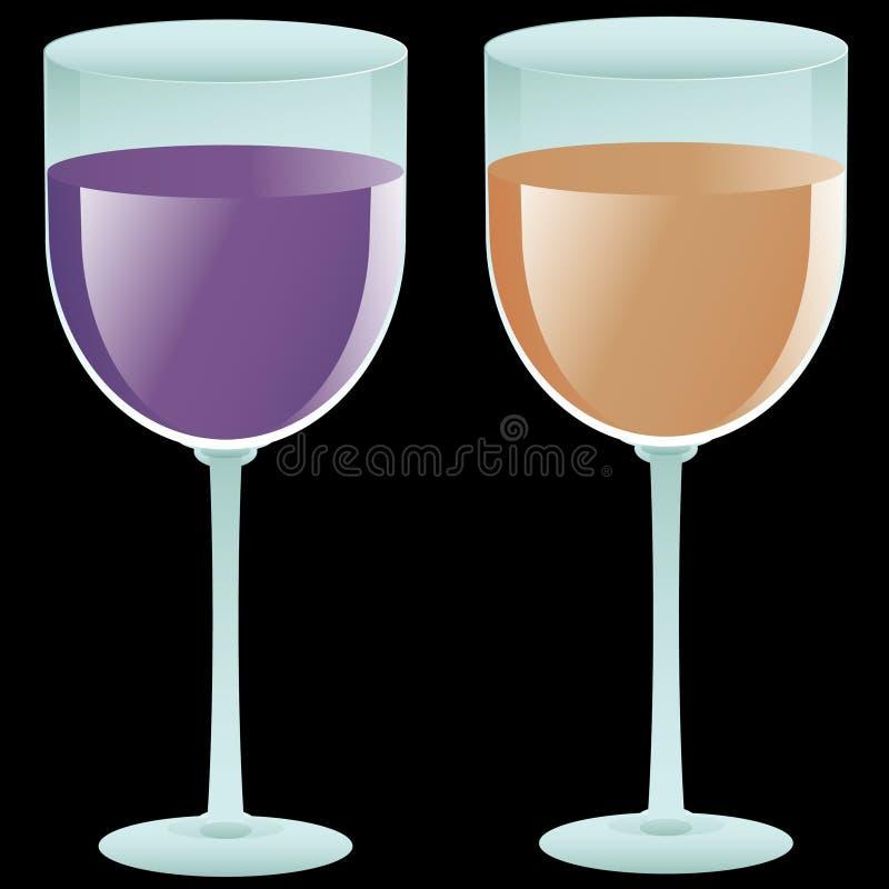 Twee gevulde wijnglazen stock illustratie