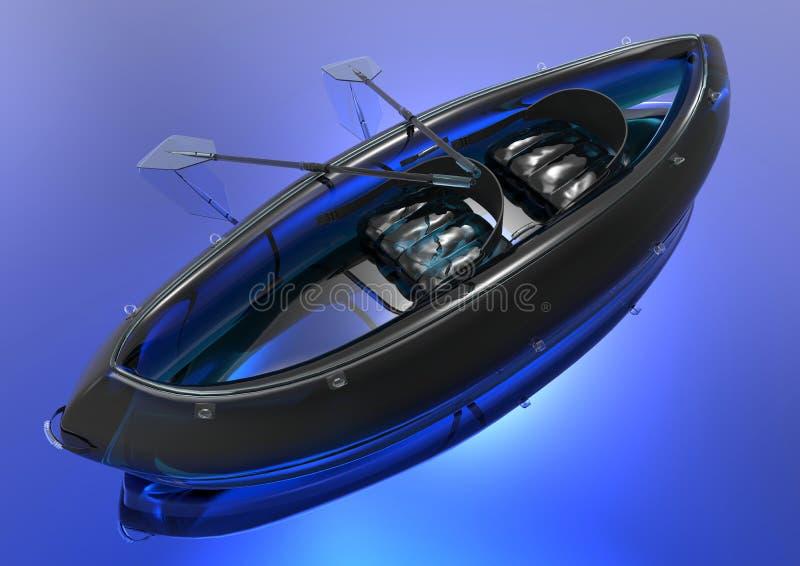 Twee gezette rubberboot stock illustratie