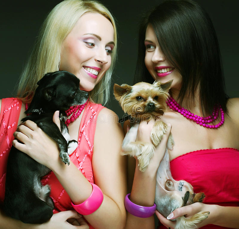 Twee glamourmeisjes met puppys stock foto