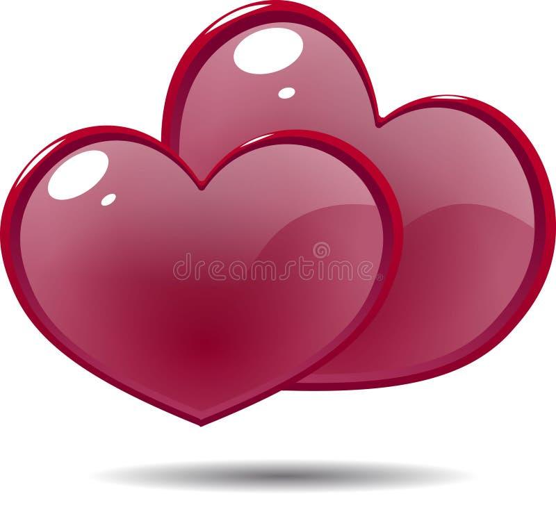 Twee glanzende pictogram rode harten stock afbeelding